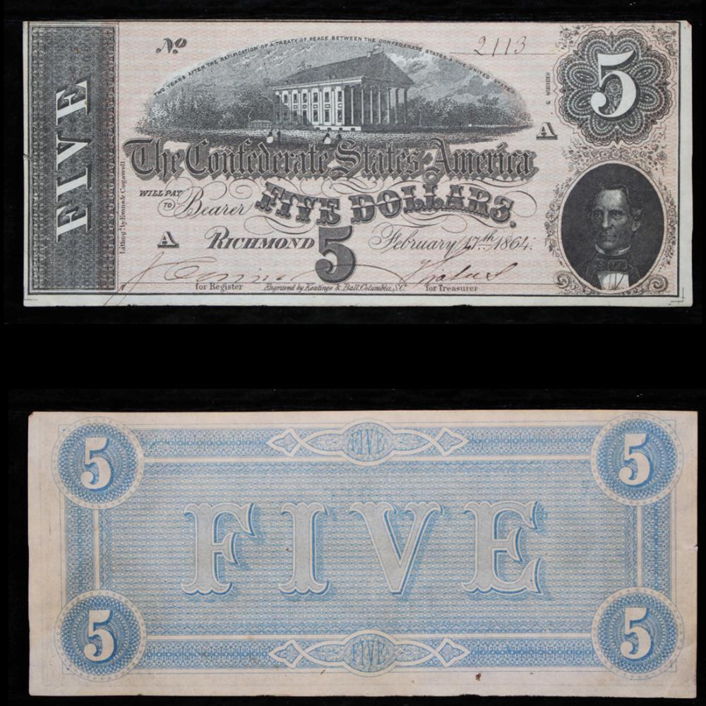 The Confederate States of America $5 Grades Choice AU/BU Slider