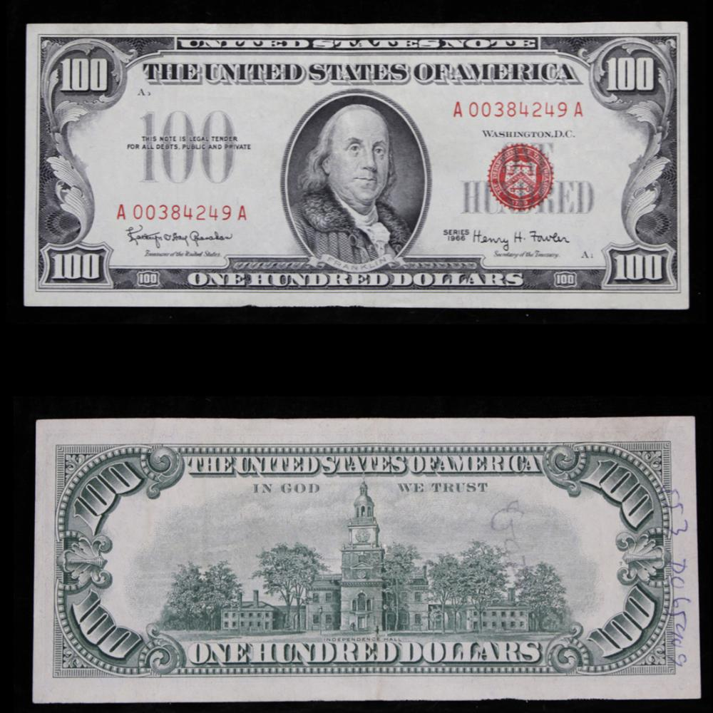 1969 $100 Red Seal United States Note Grades Choice AU
