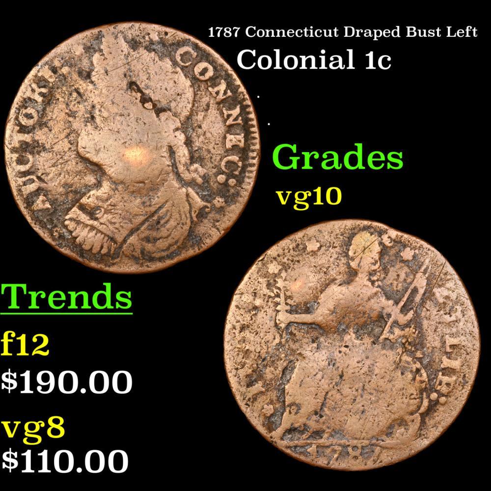 1787 Connecticut Draped Bust Left Colonial Cent 1c Grades vg+
