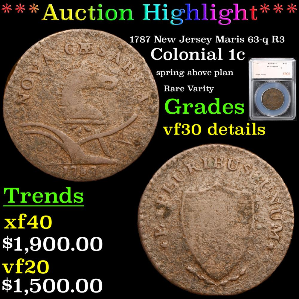 ***Auction Highlight*** 1787 New Jersey Maris 63-q R3 Colonial Cent 1c Graded vf30 details By SEGS (fc)