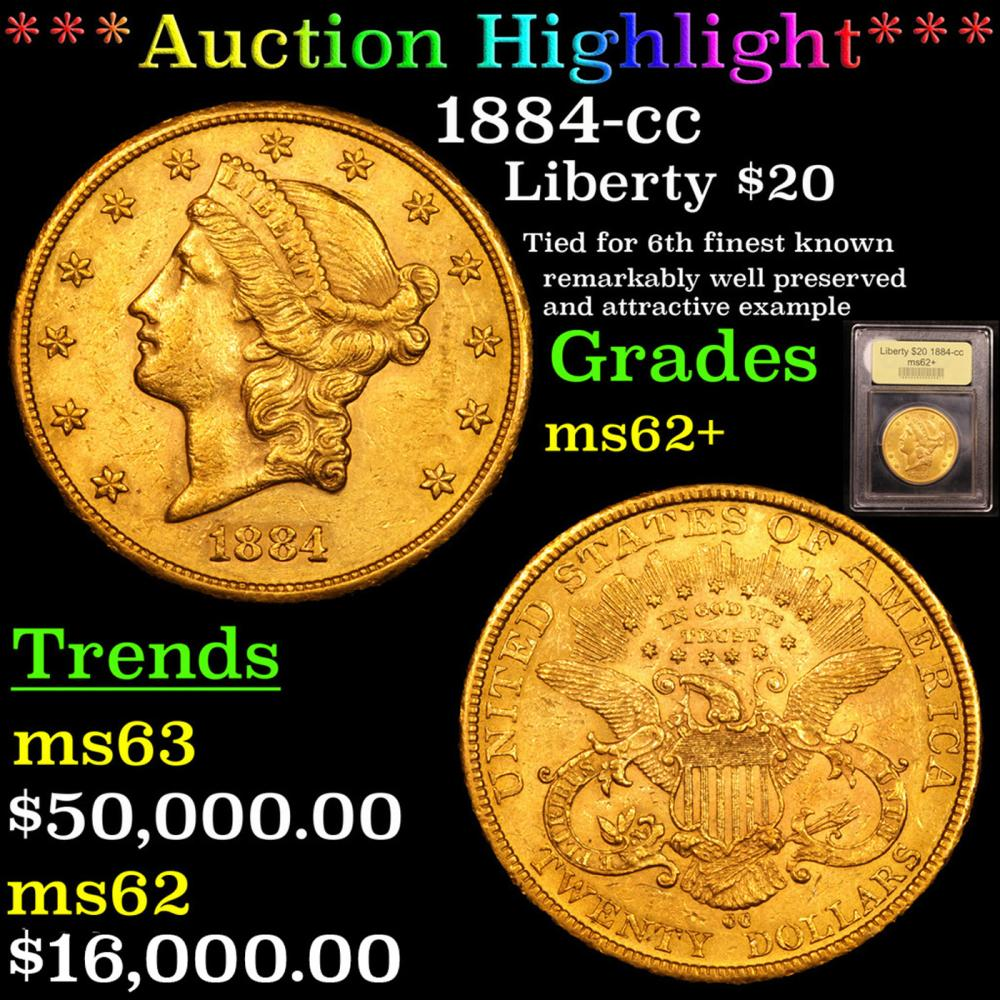 ***Auction Highlight*** 1884-cc Gold Liberty Double Eagle 20 Graded Select Unc By USCG (fc)