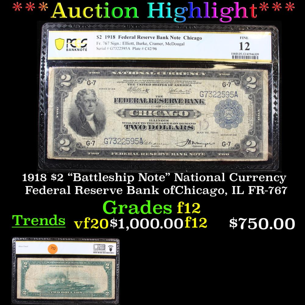 """***Auction Highlight*** PCGS 1918 $2 """"Battleship Note"""" National Currency Federal Reserve Bank ofChicago, IL FR-767 Graded f12 By PCGS (fc)"""
