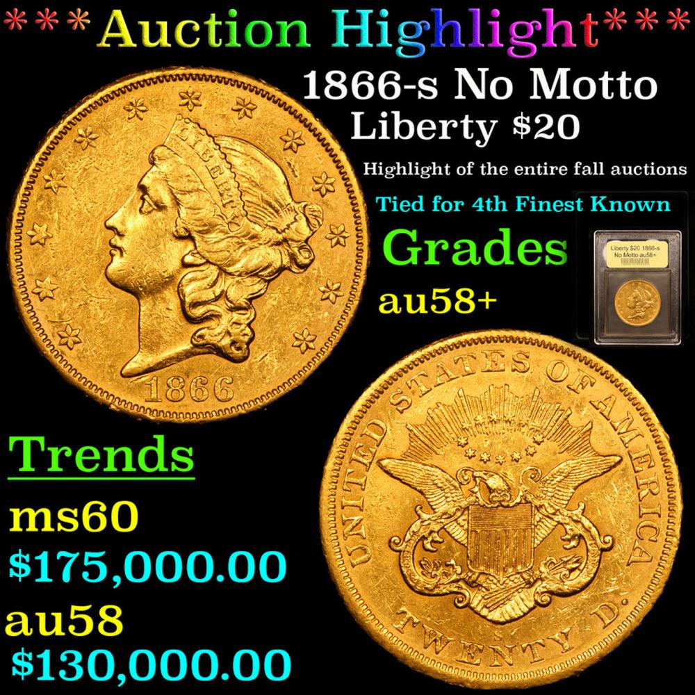 ***Auction Highlight*** 1866-s No Motto Gold Liberty Double Eagle $20 Graded Choice AU/BU Slider+ By USCG (fc)