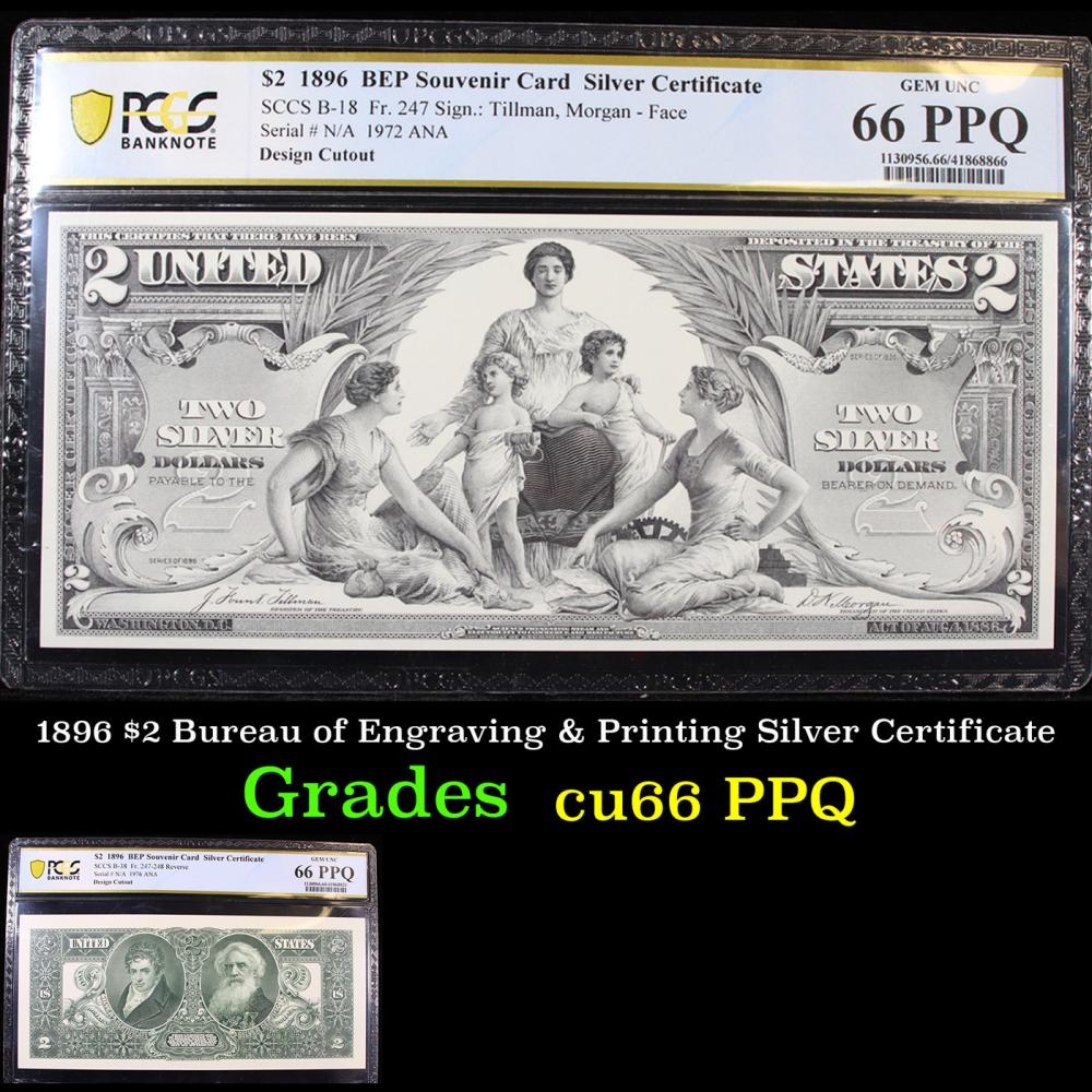PCGS 1896 $2 Bureau of Engraving & Printing Silver Certificate Graded cu66 PPQ By PCGS