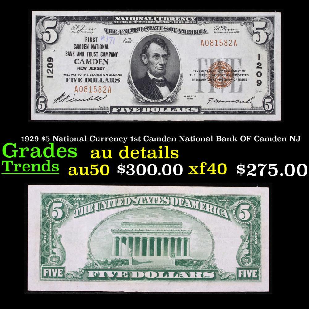 1929 $5 National Currency 1st Camden National Bank OF Camden NJ Grades AU Details