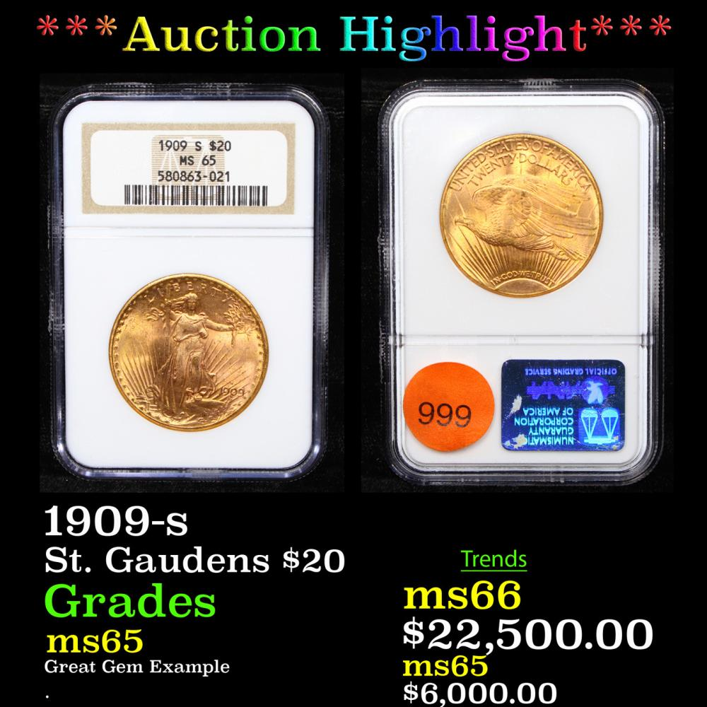 ***Auction Highlight*** NGC 1909-s Gold St. Gaudens Double Eagle $20 Graded ms65 By NGC (fc)