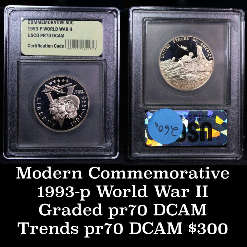 1993 W Proof World War II Commemorative Silver Dollar DCAM Flat Rate Shipping