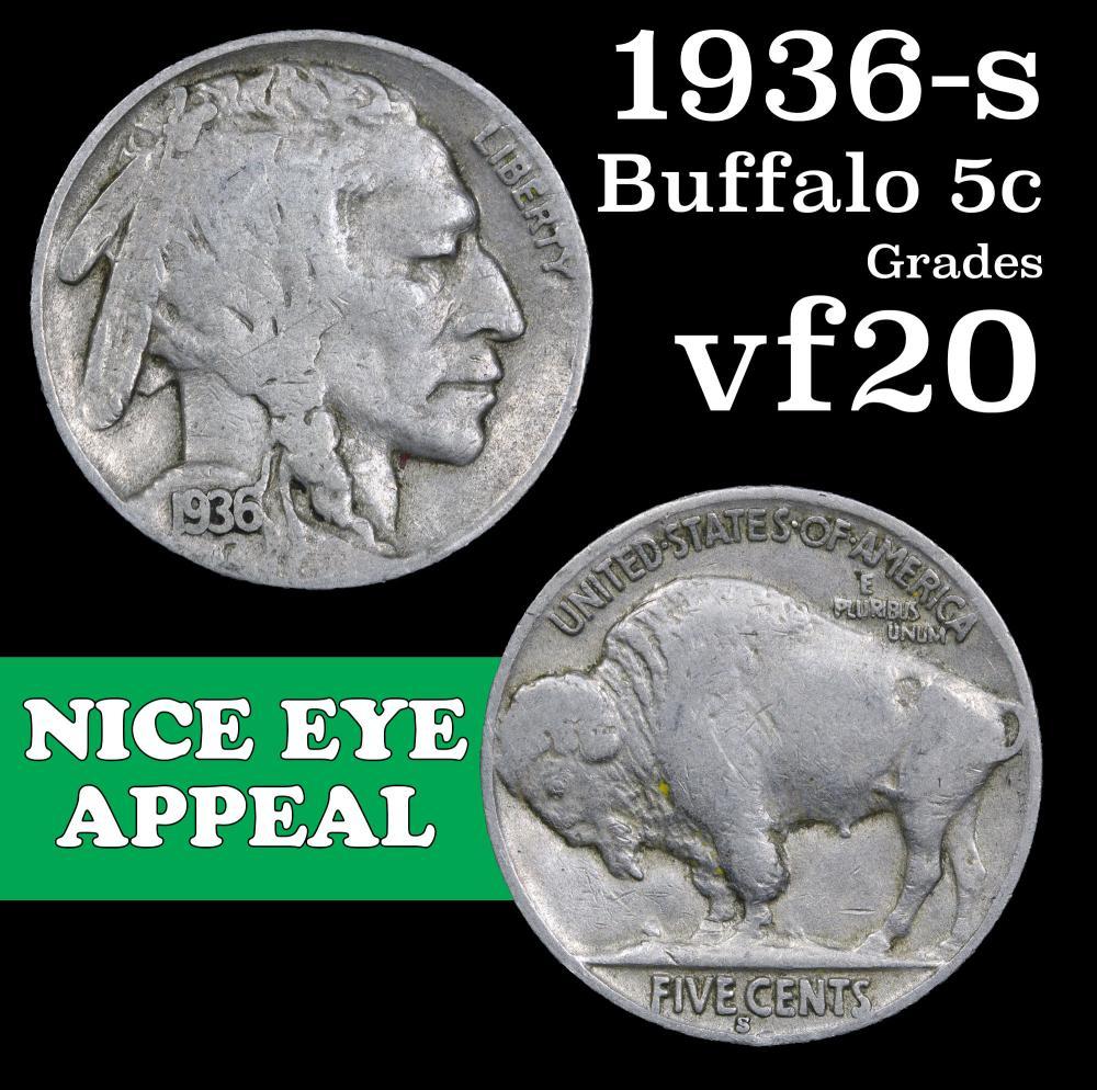 FREE SHIPPING! 1936-S Buffalo Nickel NICE