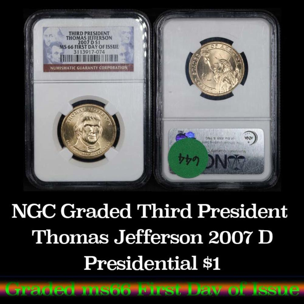 NGC 2007-d Thomas Jefferson First Day of Issue Presidential Dollar 1 Graded ms66 by NGC