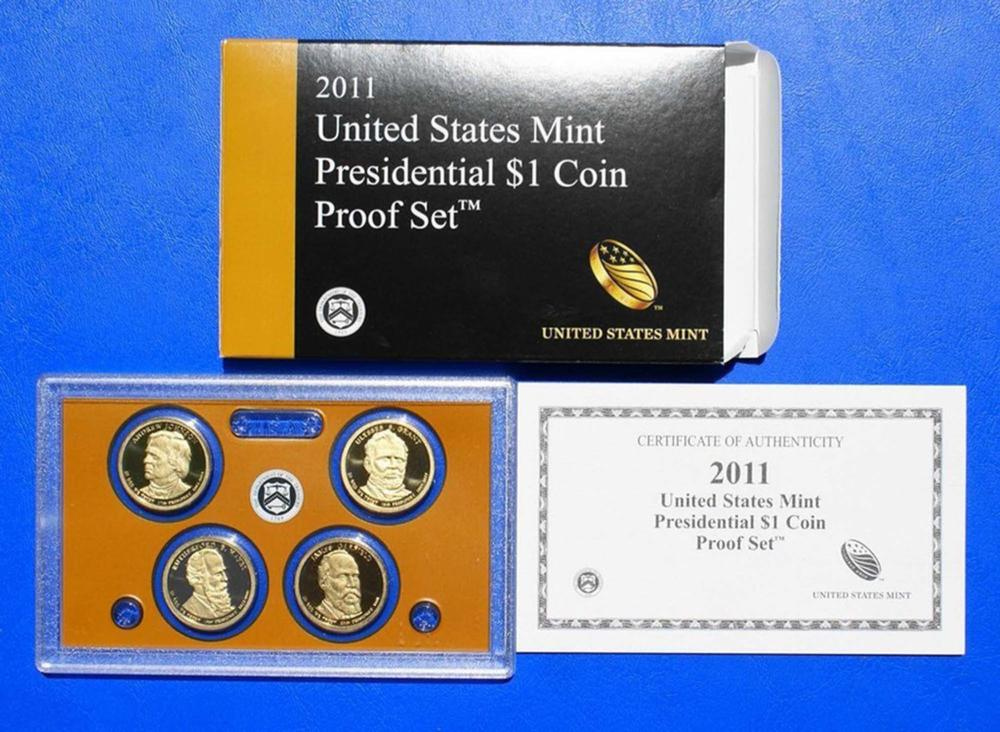 2011 PRESIDENTIAL Dollar Proof Set DEEP CAMEO Mint Coins w/coa