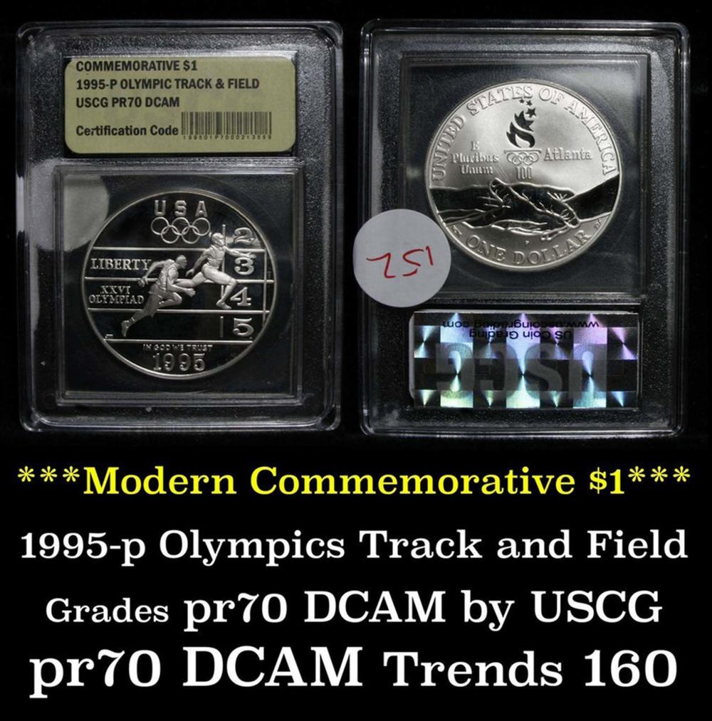1995-P Olympics Track & Field Modern Commem Dollar $1 Graded GEM++ Proof Deep Cameo by USCG