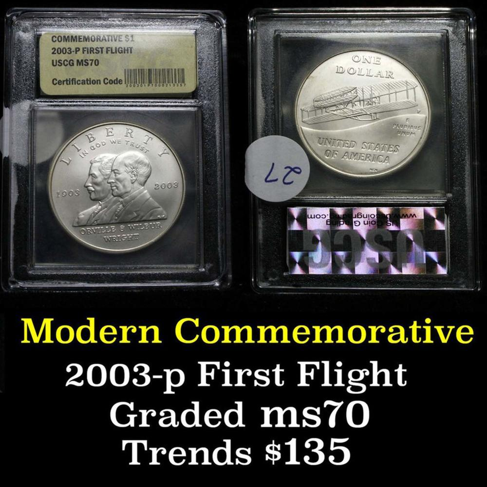 2003-p First Flight Modern Commem Dollar $1 Graded ms70, Perfection by USCG