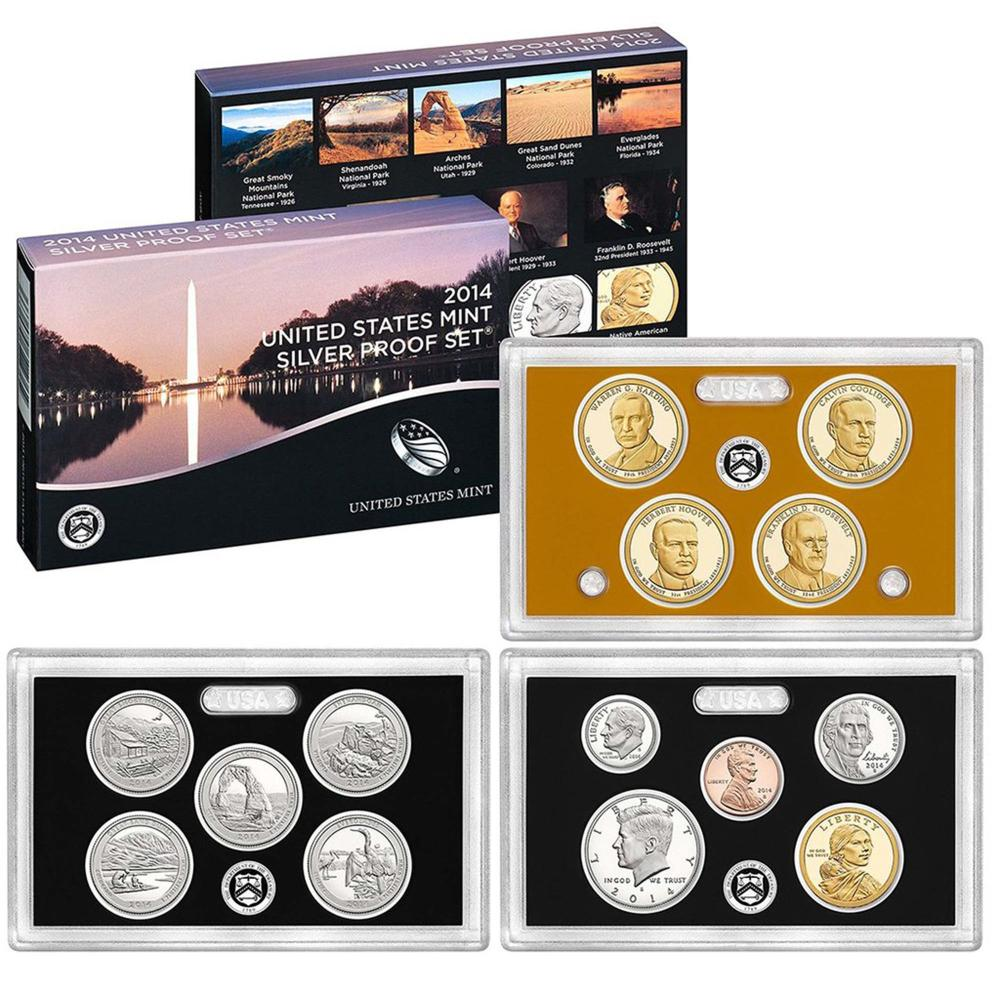 2014 United States Mint Silver Proof Set - 14 pc set, about 1 1/2 ounces of pure silver
