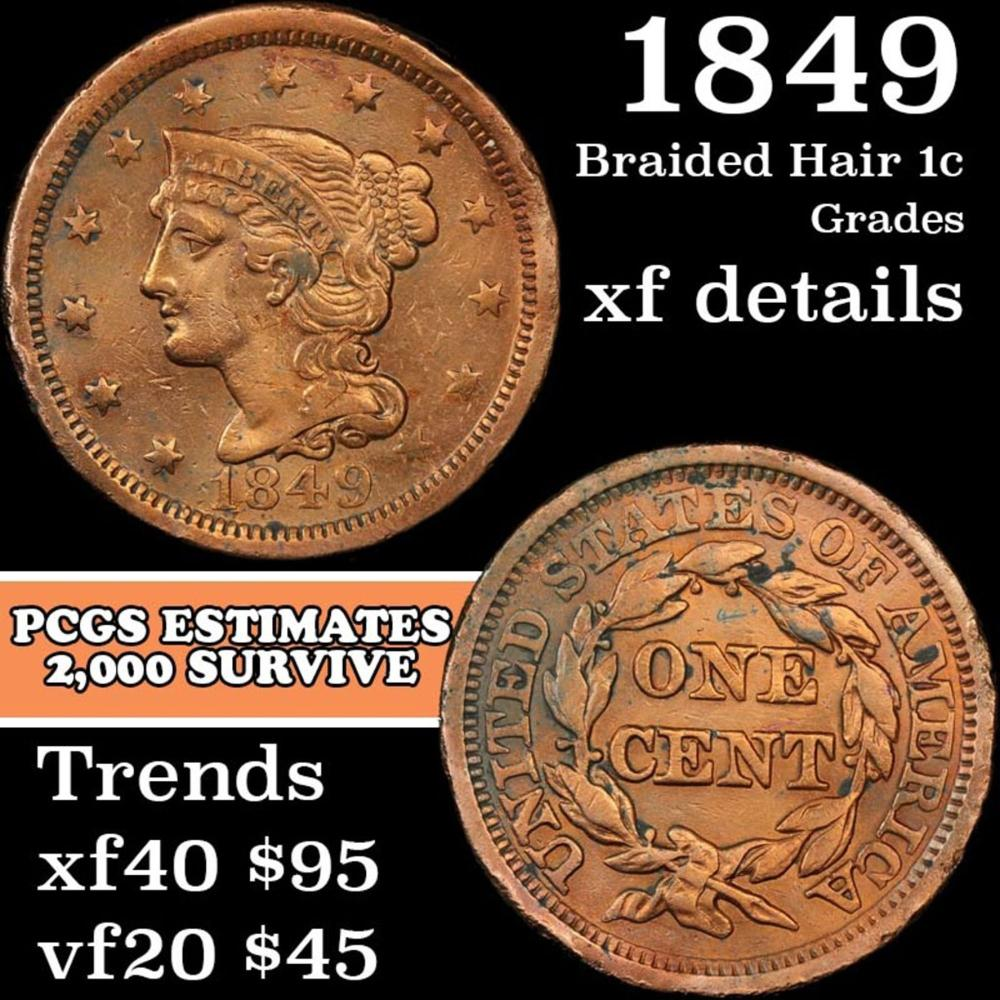 1849 Braided Hair Large Cent 1c Grades xf details
