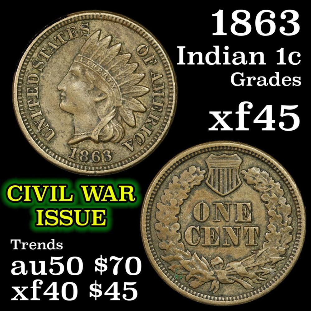 1863 Indian Cent 1c Grades xf+