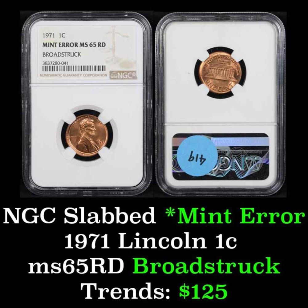 NGC 1971-p Mint Error - Broadstruck Lincoln Cent 1c Graded ms65 RD By NGC