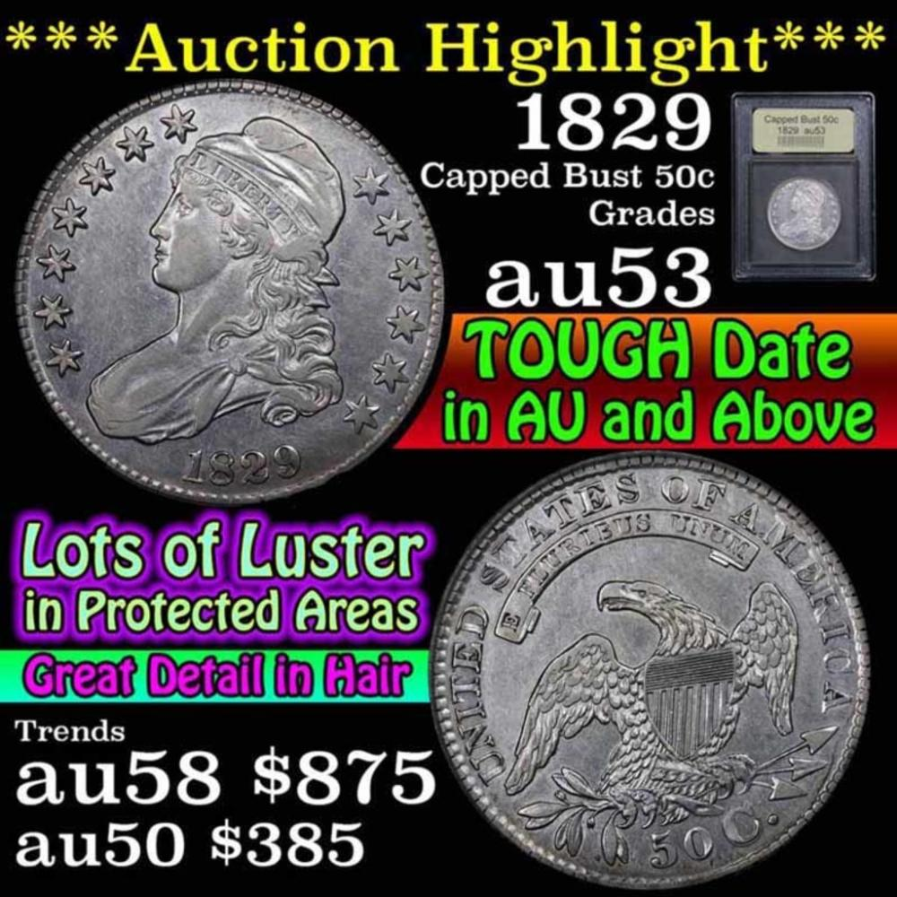 1829 Capped Bust Half Dollar 50c Graded Select AU by USCG (fc)