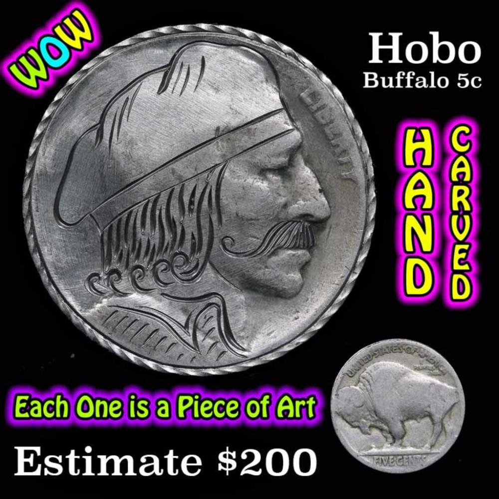 Hobo Nickel 5c Hand Carved From Buffalo Nickel