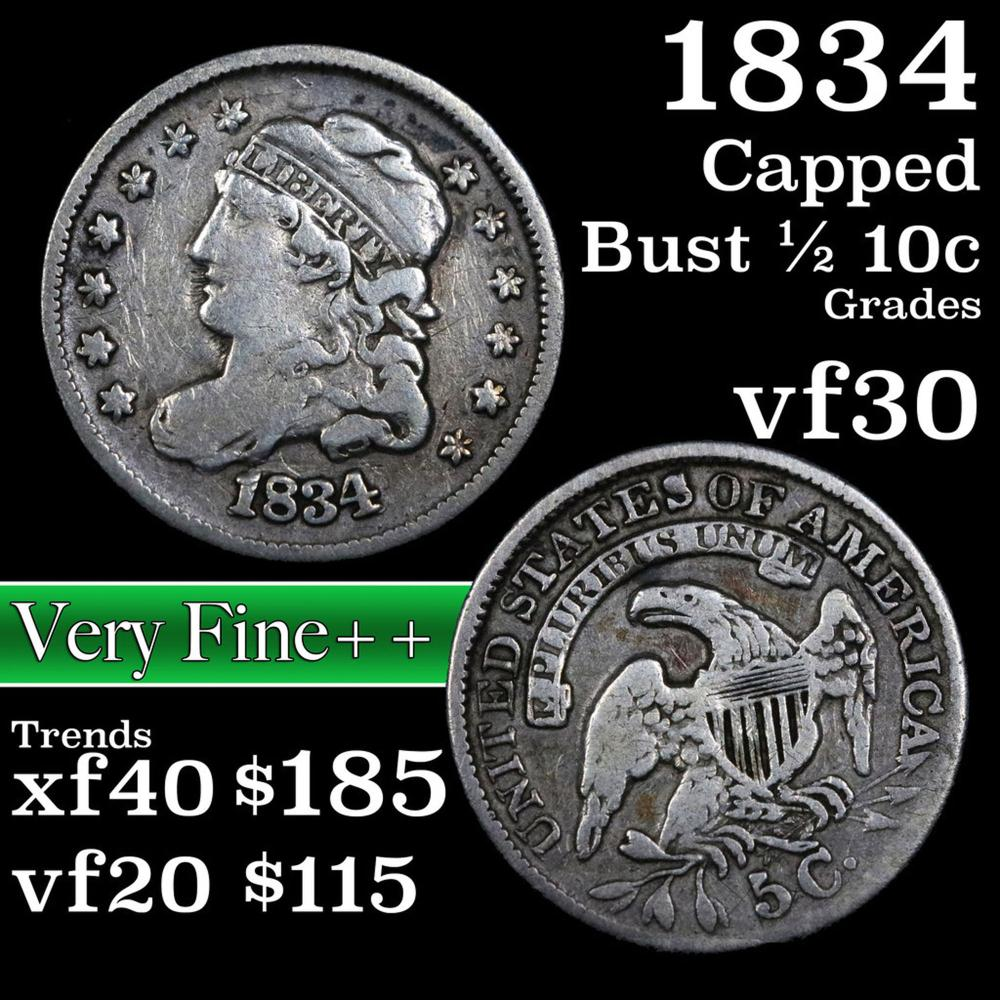1834 Capped Bust Half Dime 1/2 10c Grades vf++