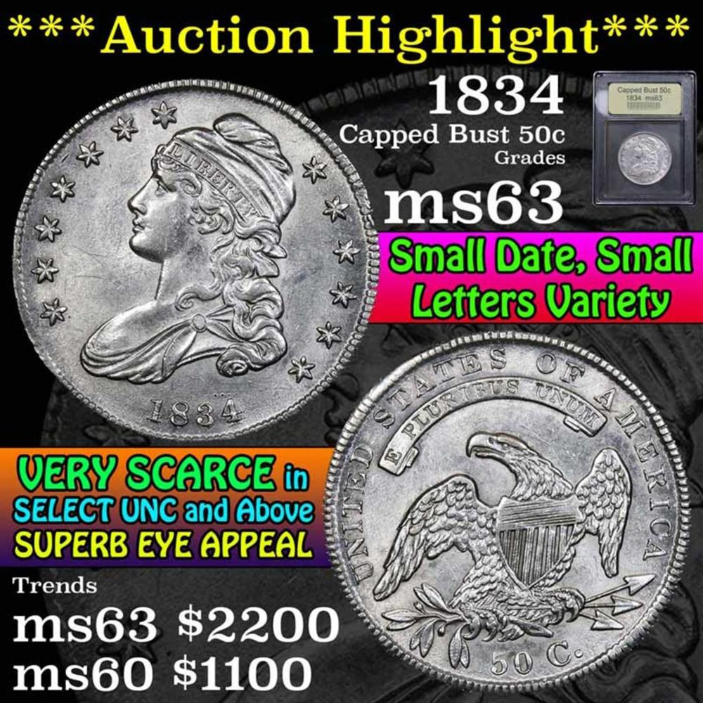 ***Auction Highlight*** 1834 Capped Bust Half Dollar 50c Graded Select Unc by USCG (fc)