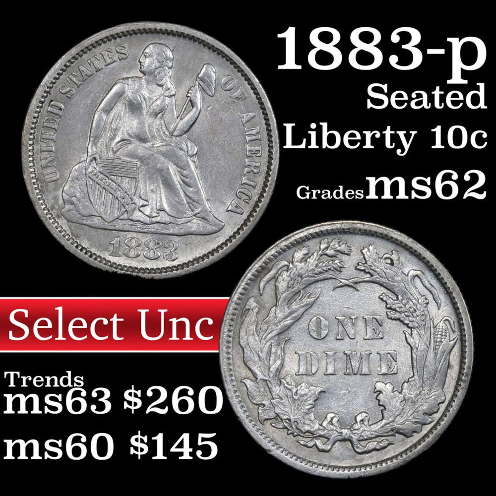 1883-p Seated Liberty Dime 10c Grades Select Unc
