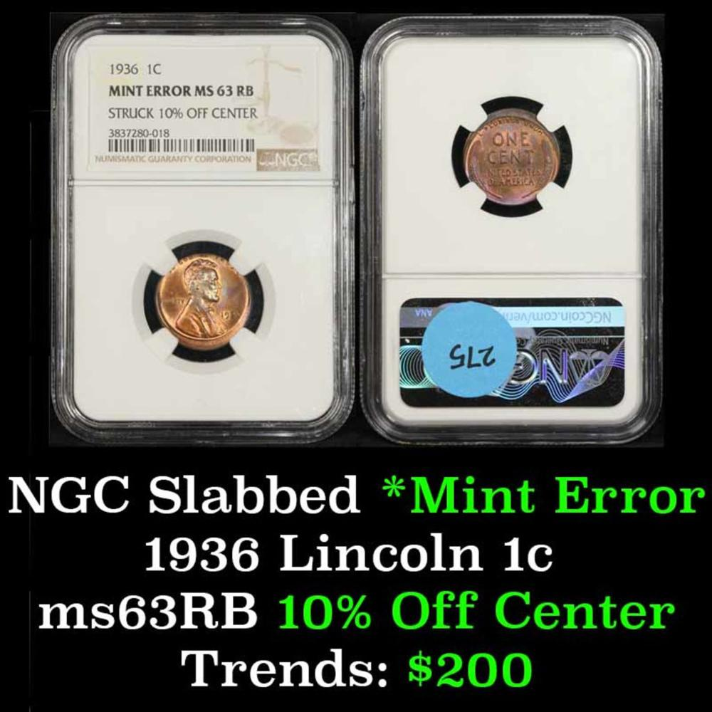 NGC 1936-p Mint Error - Struck 10% off Center Lincoln Cent 1c Graded ms63 RB By NGC