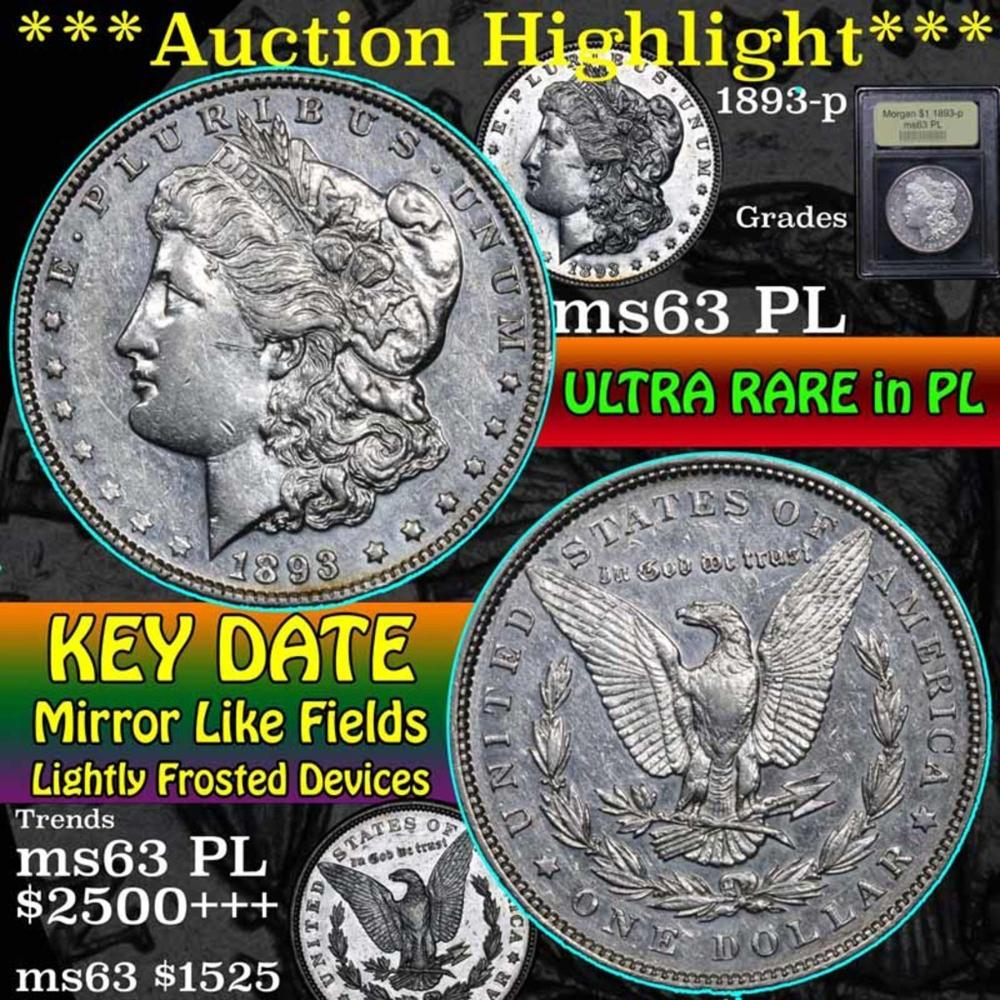 ***Auction Highlight*** 1893-p Morgan Dollar $1 Graded Select Unc PL by USCG (fc)