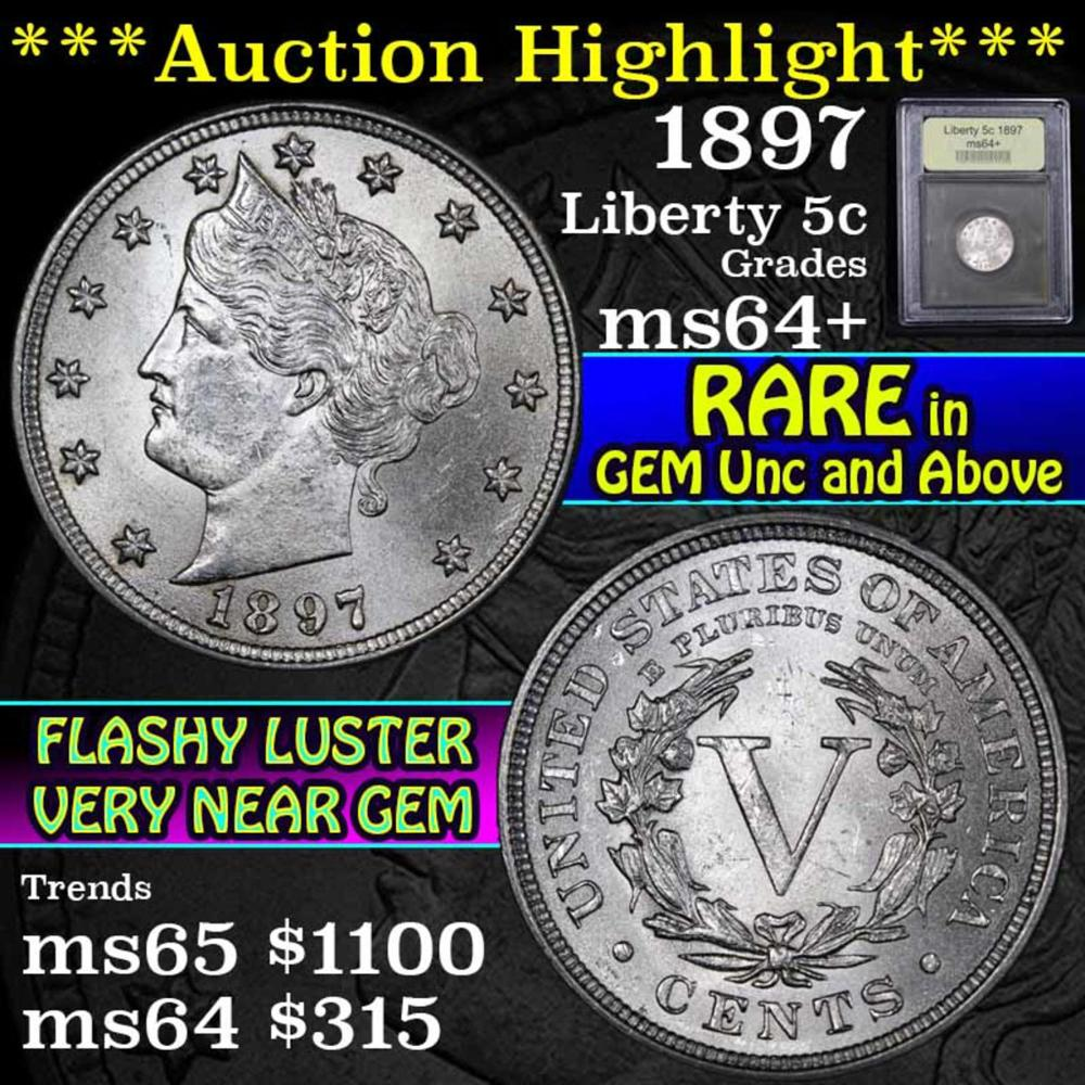 ***Auction Highlight*** 1897 Liberty Nickel 5c Graded Choice+ Unc By USCG (fc)