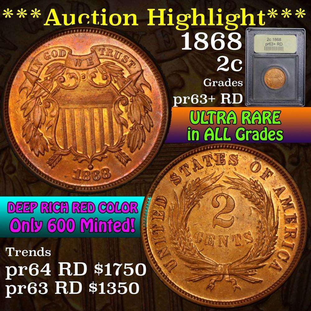 ***Auction Highlight*** 1868 Two Cent Piece 2c Graded Select+ Proof Red by USCG (fc)