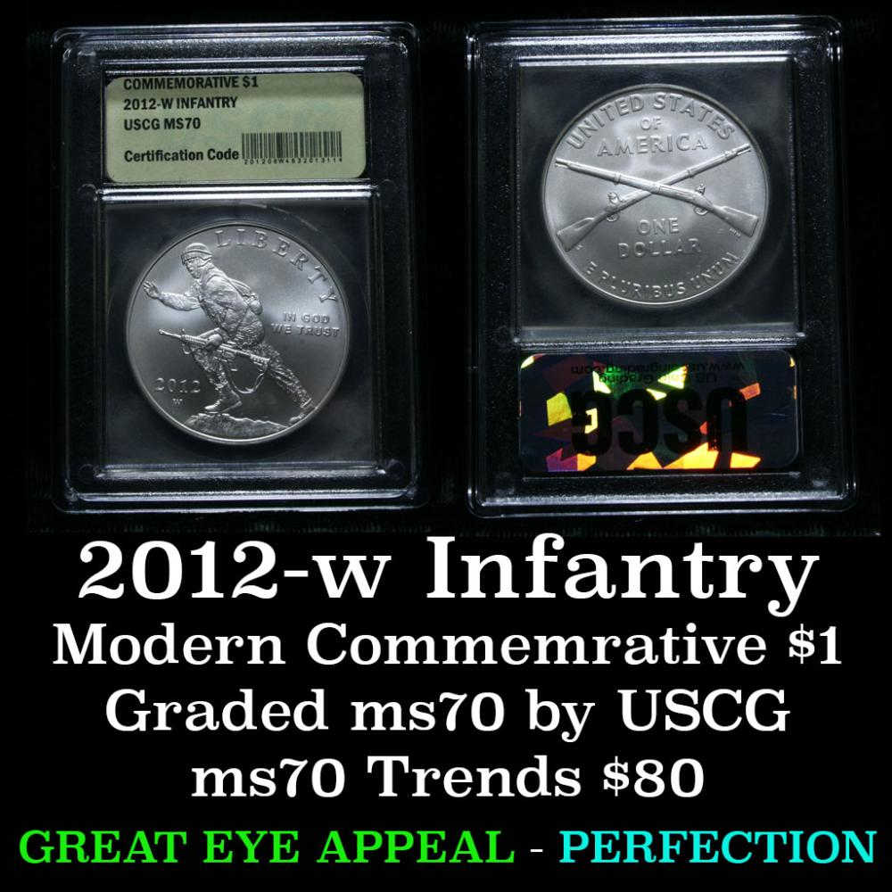 2012-w INFANTRY Modern Commem Dollar $1 Graded ms70, Perfection by USCG
