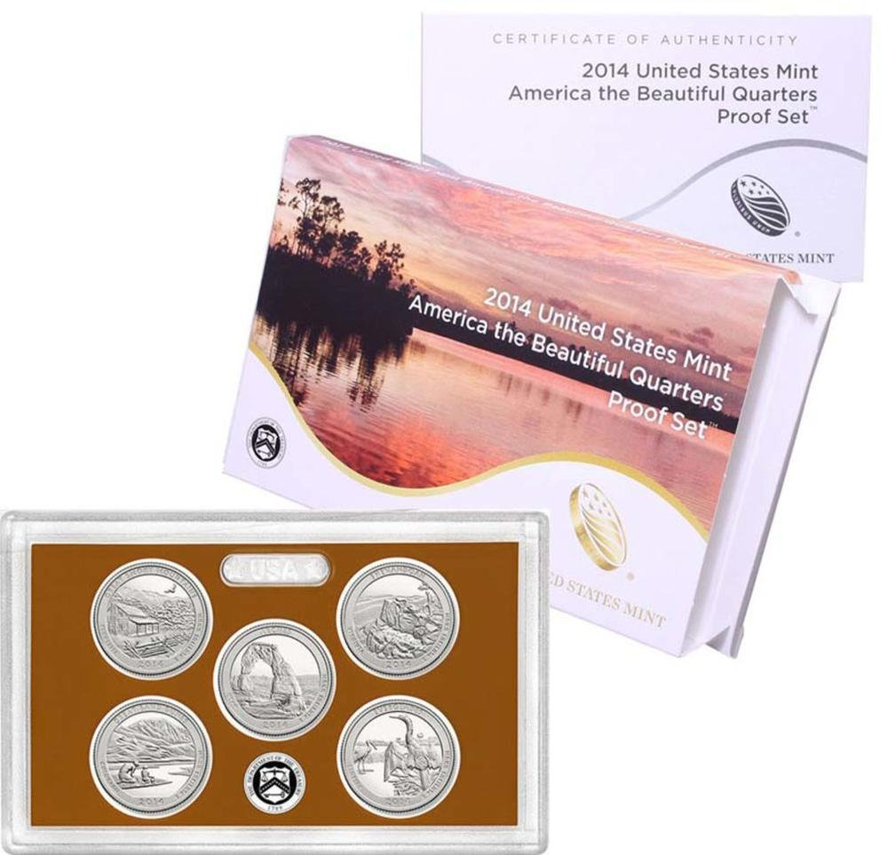 2014 United States Quarters America the Beautiful Silver Proof Set - 5 pc set