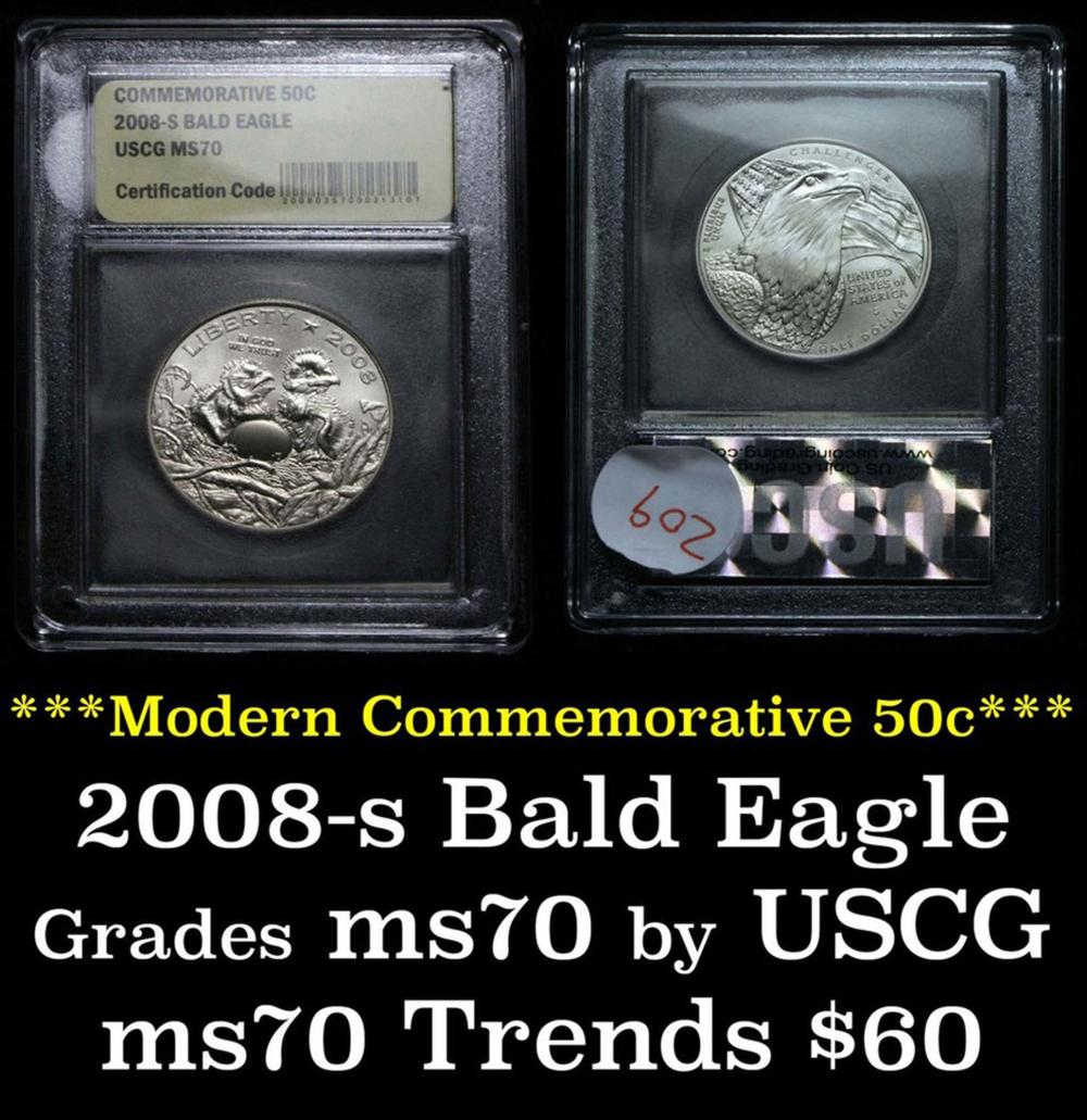 2008-s Bald Eagle Modern Commem Half Dollar 50c Graded ms70, Perfection by USCG