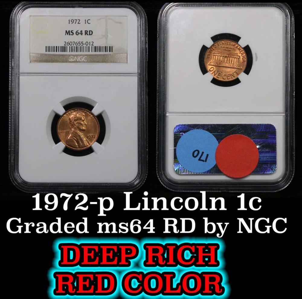 NGC 1972-p Lincoln Cent 1c Graded ms64 RD by NGC