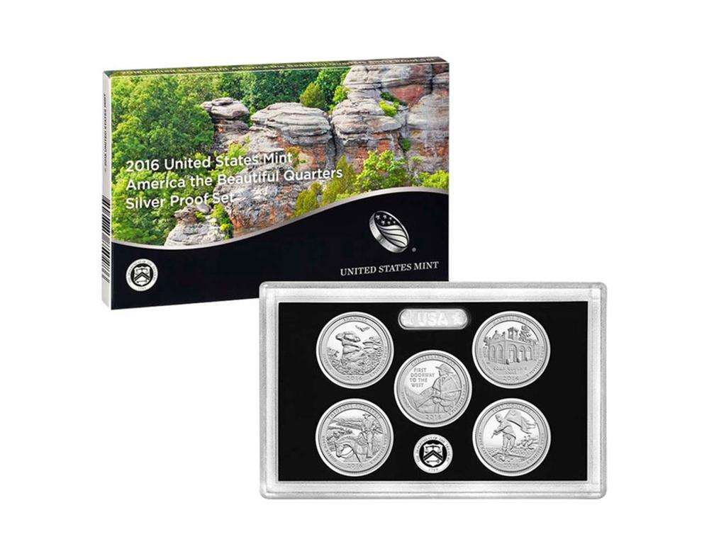 2016 United States Quarters America the Beautiful Silver Proof Set - 5 pc set