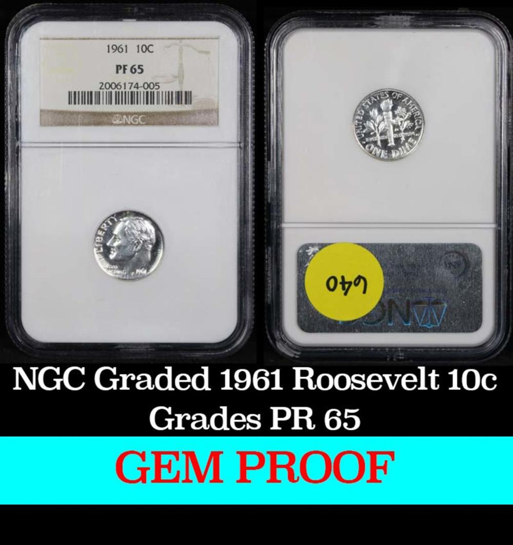 NGC 1961 Roosevelt Dime 10c Graded pr65 by NGC