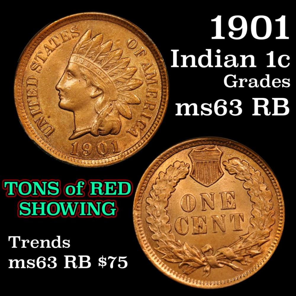 1902 Indian Cent 1c Graded Select Unc RB By USCG