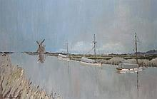 PATRICK BOSWELL, SIGNED, OIL ON BOARD, Moored