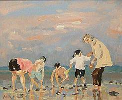 """PATRICK BOSWELL, SIGNED OIL, Beach Group, 8 1/2 """""""