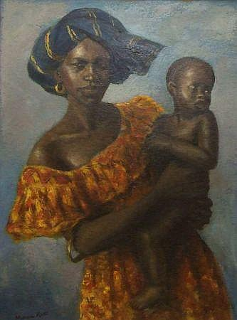 MICHAEL ROSS, SIGNED OIL, Nigerian Lady Holding a