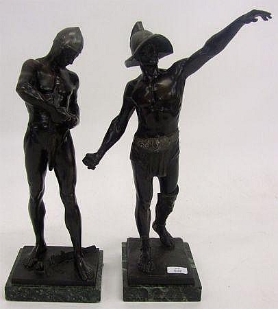 Ferdinand Lugerth (D 1915), pair of signed Bronze