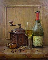 Gabor G. Tot Toth, Still Life with Bottle of