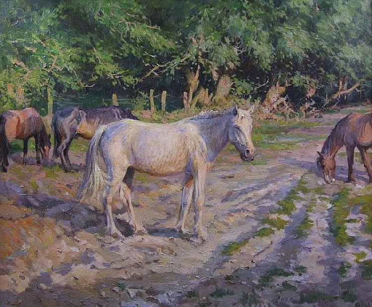 Barry A Peckham, Horses on a Forest Track, oil on