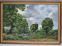 S.G.M (C20th English School) Arcadian landscape