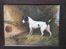Oak framed oil painting of a Jack Russell terrier