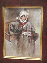 Oil on board portrait of an Arab boy in tribal