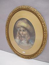 Early C20th oval pastel 'Young girl in bonnet'