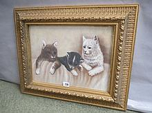 Gilt framed oil painting study of a cat & kittens