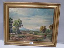 Gilt framed oil painting extensive pastural