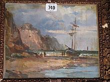 Gilt framed oil painting seascape with fishing