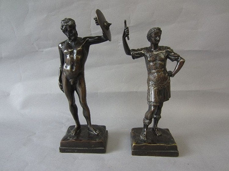 Patinated bronze model of a naked gladiator with